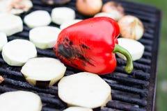 Czerwony pieprz na grillu Fotografia Royalty Free