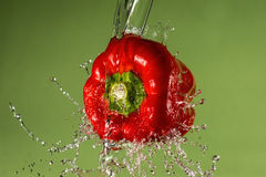 Czerwony pieprz na Zielonym tle zdjęcia stock