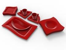 Czerwony plastikowy obiadowy artykuły royalty ilustracja