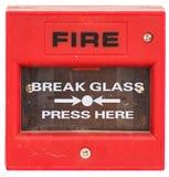 Czerwony pożarniczego alarma wyposażenie odizolowywający Zdjęcia Stock