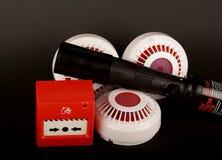 Czerwony Pożarniczy alarm na czerni obrazy royalty free