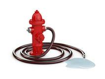 Czerwony pożarniczy hydrant i Pożarniczy wąż elastyczny, 3d ilustracja odizolowywaliśmy biel Obraz Royalty Free