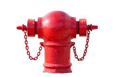 Czerwony pożarniczy hydrant odizolowywający na bielu Obrazy Stock