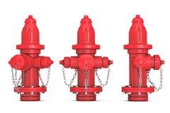 Czerwony Pożarniczych hydrantów 3d rendering Obrazy Royalty Free