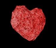 Czerwony poligonalny serce Walentynka dzień lub medycyny pojęcie Odizolowywa na czarnym tle fotografia stock