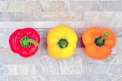 Czerwony pomarańczowego koloru żółtego pieprz fotografia royalty free