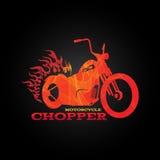 Czerwony pomarańczowy motocyklu siekacza logo jest kreskowym mieszanki sztuki stylem ilustracji