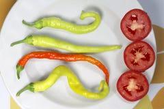 czerwony pomidor i pieprze w naczyniu Zdjęcie Stock