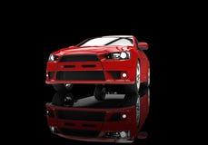 Czerwony Potężny Nowożytny samochód na Czarnym tle Obraz Stock