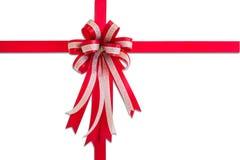 Czerwony prezenta faborek, łęk odosobneni na białym tle i, Obraz Royalty Free