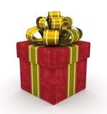 Czerwony prezenta pudełko z złocistym łękiem odizolowywającym na białym tle Zdjęcia Royalty Free