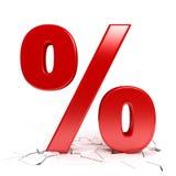 Czerwony procentu znak ilustracja wektor