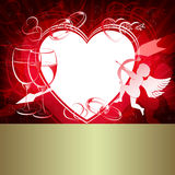 Czerwony projekt z sercami Zdjęcia Stock