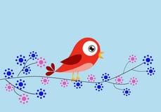 Czerwony ptak i kwiaty Zdjęcia Stock