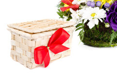 czerwony pudełkowata dziobu prezent obrazy royalty free