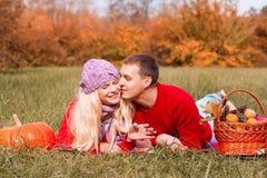 Czerwony pulower, pykniczny las fotografia stock