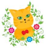 Czerwony pussycat z sercem w kwiecistej ramie ilustracja wektor