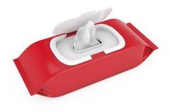 Czerwony puste miejsce Pakuje papierów wytarć Mokrą kieszonkę świadczenia 3 d Zdjęcia Stock