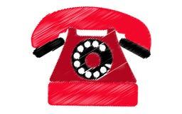 Czerwony retro, modniś, antyk, stary, antykwarski telefon, malował w uderzeniach na białym tle ilustracja wektor