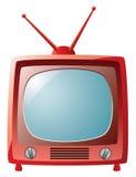 czerwony retro set tv Obraz Stock