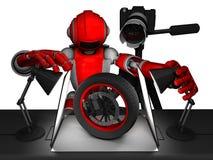Czerwony robota utworzenia fotografii oświetlenie z przedmiot oponą fotografia royalty free