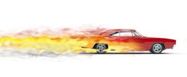 Czerwony rocznika mięśnia samochód - dymów ślada Fotografia Royalty Free
