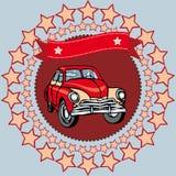 Czerwony rocznika samochód na szarym tle z gwiazdami i faborkiem wektor Zdjęcia Stock