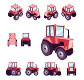 Czerwony rolny ciągnik od różnych kątów, Pojazdu szablonu wektor odizolowywający na bielu Przegląda przód, tyły, strona, wierzcho Zdjęcie Stock