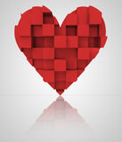 Czerwony romantyczny trójwymiarowy kubiczny serce Zdjęcie Royalty Free