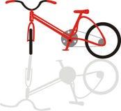 czerwony rower roweru cień. Obraz Stock