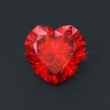 Czerwony rubinowy serce Fotografia Royalty Free