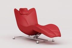 Czerwony rzemienny łatwy krzesło zdjęcie royalty free