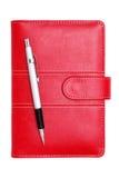 Czerwony rzemienny notatnik Zdjęcia Stock