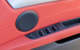 Czerwony rzemienny Samochodowy wnętrze Zdjęcie Royalty Free