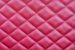 Czerwony Rzemienny tapicerowania tło Dla Luksusowej dekoraci Obraz Stock