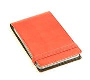 Czerwony rzemienny wizytówka właściciel Fotografia Stock
