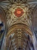 Czerwony słońce emblemat, Quire sufit, Tewkesbury opactwo, Gloucestershire, Anglia fotografia stock