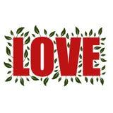 Czerwony słowo miłość z tłem ciemnozieleni liście ilustracja wektor