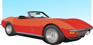 czerwony samochód amerykańskie sporty ilustracji
