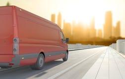 Czerwony samochód dostawczy w drodze Zdjęcia Stock