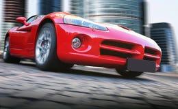Czerwony samochód iść na mieście Obrazy Stock