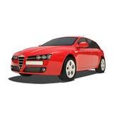 Czerwony samochód Odizolowywający na Białym tle royalty ilustracja
