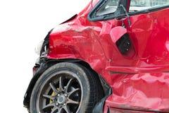 czerwony samochód w wypadku Zdjęcie Royalty Free