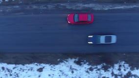 Czerwony samochodowy jeżdżenie zbiory