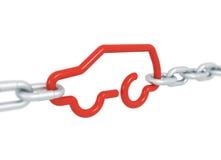 Czerwony samochodowy symbol blokujący z metali łańcuchami Fotografia Royalty Free