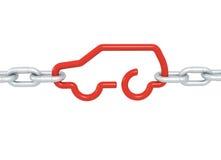 Czerwony samochodowy symbol blokujący z metali łańcuchami odizolowywającymi Obrazy Royalty Free