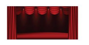 Czerwony sceny przedstawienie z światłami ilustracji