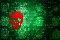 Czerwony Scull na zieleni MRI Cyfrowy technologii Abstrakcjonistycznym tle Fotografia Royalty Free
