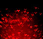 Czerwony serca bokeh jako tło Fotografia Royalty Free