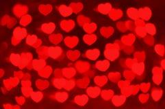 Czerwony serca bokeh jako tło Zdjęcie Royalty Free